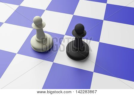 White And Black Pawn On A Blue Chess Board 3d illustration