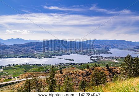 Landscape with mountains, lake and blue sky with tiny clouds.