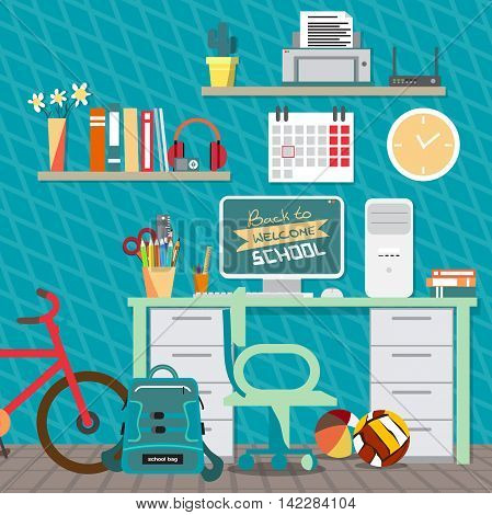Back to school concept. Teenagers workspace with desk, computer, bycicle, books, backpack etc. Child room interior. Vector flat cartoon illustration