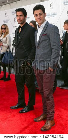NEW YORK-APR 11: Actors Eduardo Verastegui (L) and  David Henrie attend the world premiere of