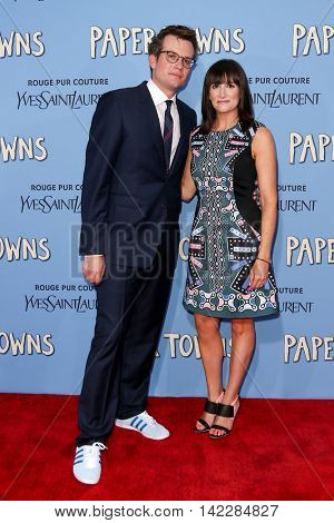 NEW YORK-JUL 21: Author John Green (L) and wife Sarah Urist attend the