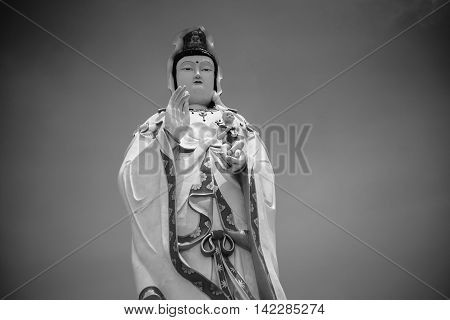 Jao-Mea-Guan-im Statue in temple(public place) of thailand in black and white style