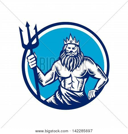 Illustration of a poseidon god of the sea holding trident viewed from front set inside circle on isolated background done in retro woodcut style.