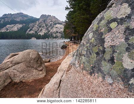 Rock with lichen at the water reservoir of l'Ospedale near Porto Veccio Corsica