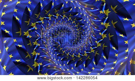 European union flag. Droste Effect. European union flag. Droste Effect