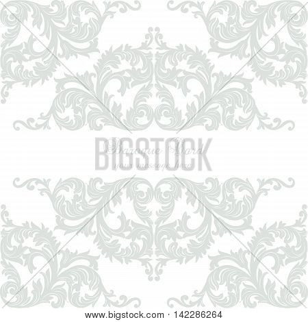 Vintage Baroque Rococo ornament card. Vector damask decor. Royal Victorian texture for textile fabric. Rose quartz color