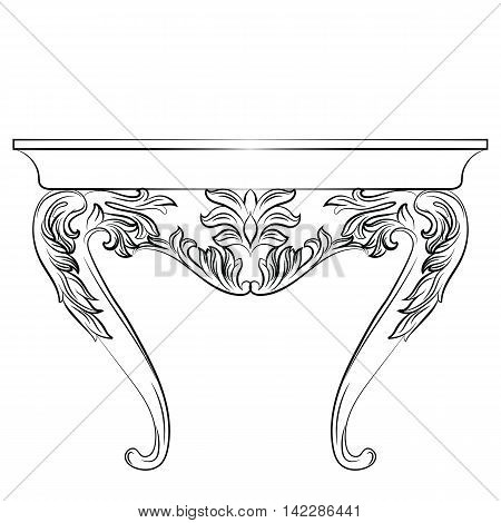 Rich Baroque commode Table. French Luxury rich carved ornaments decorated furniture. Vector Victorian Royal Style table furniture