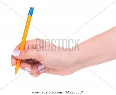 Young female hand with pen isolated over white background