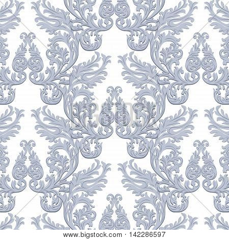 Vintage Baroque Rococo ornament pattern. Vector damask decor. Royal Victorian texture fortextile fabric