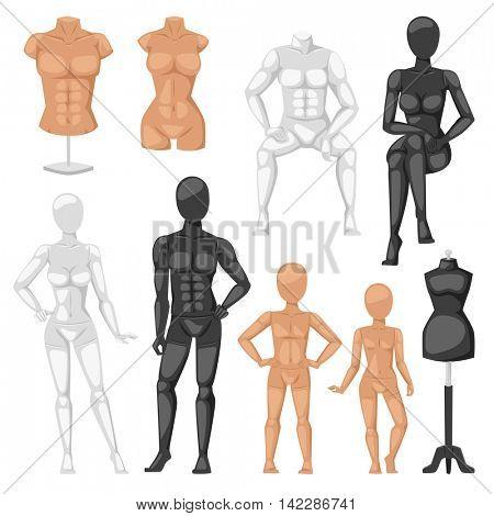 Dummy mannequin model vector illustration.