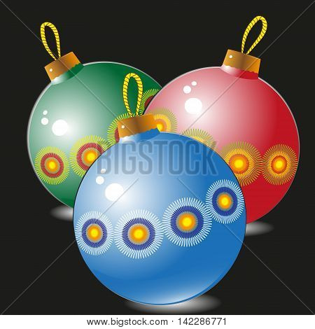 New Year balls vector illustration Drawing New Year three ball pattern and painted on a black background for decoration and design