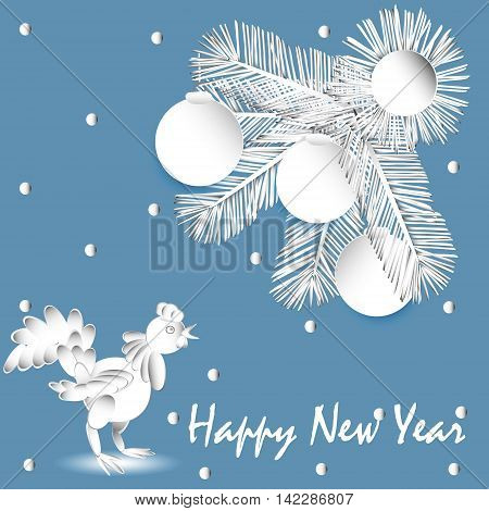 Vector illustration of paper applique Christmas tree and a rooster Postcard application of white paper Christmas tree with balls and cock, on a blue background with a greeting