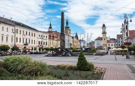 BANSKA BYSTRICA SLOVAKIA - JULY 27: Square in the centre of town on July 27 2015 in Banska Bystrica
