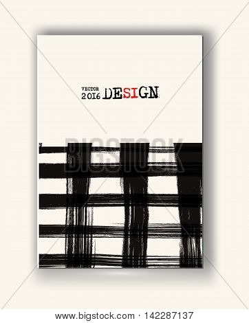 Business design templates. Abstract grunge pattern checkered textures. Brochure with Monochrome Cell Backgrounds. Wallpaper with empty space for your text. Vector hand drawn plaid illustration