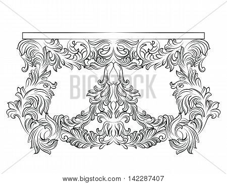 Rich Baroque commode Table with drawers. French Luxury rich carved ornaments decorated furniture. Vector Victorian Royal Style table furniture