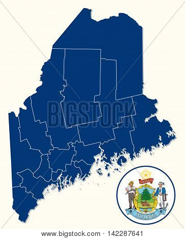 simple administrative and political map with seal of the US State of Maine