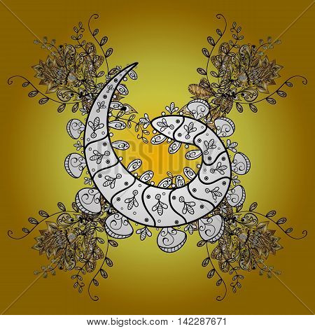 Abstract pattern on yellow background with floral golden and white doodles elements. Vector illustration. Pattern background.