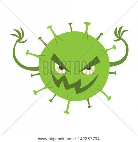 Cartoon viruses characters vector set.
