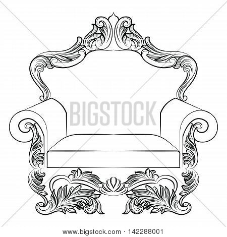 Baroque luxury style armchair furniture. Elegant upholstery with luxurious rich ornaments. French Luxury rich carved ornaments decoration. Vector Victorian exquisite Style furniture. Vector sketch