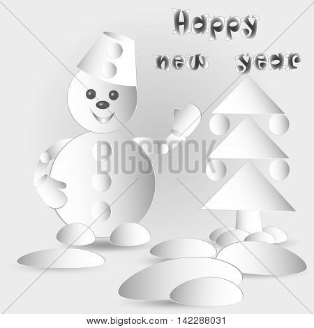 Drawing Snowman and Christmas tree Vector illustration of snowman and paper Christmas fir tree with balls and snowdrift with new year greetings