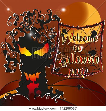 Vector illustration -Welcome to the Halloween party  Drawing on brown background welcome to the Halloween party, ghost tree light inside the spider and the web, and an invitation to the feast