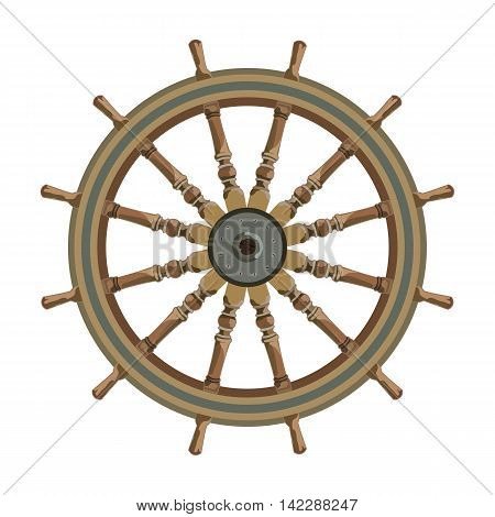 ship steering wheel isolated. vector nautical maritime theme
