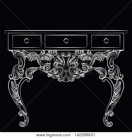 Rich Baroque Table. French Luxury rich carved ornaments furniture. Vector Victorian Royal Style furniture. Black background