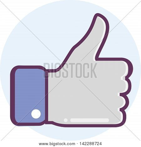 Icon thumbs up, located on a circular background.