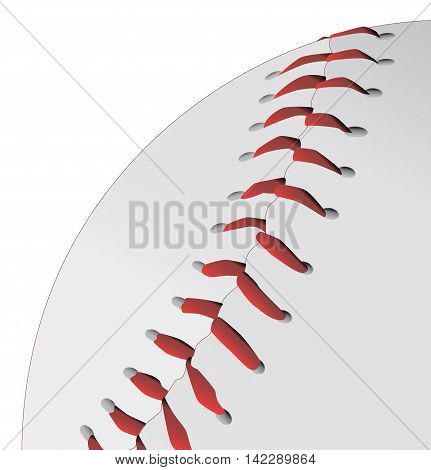 A baseball closeup with red stitching on a white background.