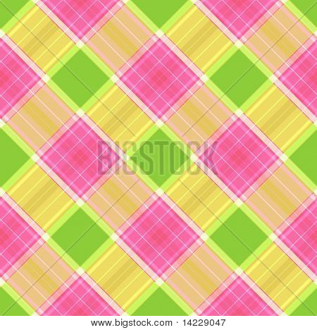 Pink, Brown  And Green Trendy Seamless Plaid Pattern
