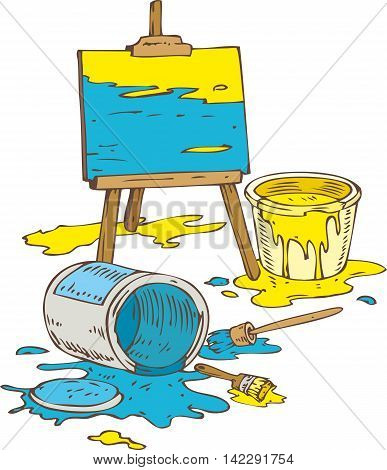 Picture on the Wooden Easel Tin Cans of Yellow and Blue Paint and Paintbrushes. Isolated on a White