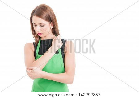 Pretty Supermarlet Seller With Elbow Pain