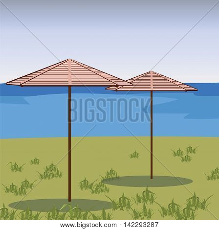 Two Umbrellas in a green field. Vector beach background. Relaxing view on a breezy day at the tropical beach
