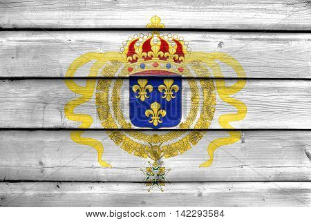 Flag Of Acadia, Canada, Painted On Old Wood Plank Background