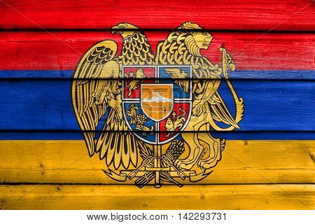 Flag Of Armenia With Coat Of Arms, Painted On Old Wood Plank Background