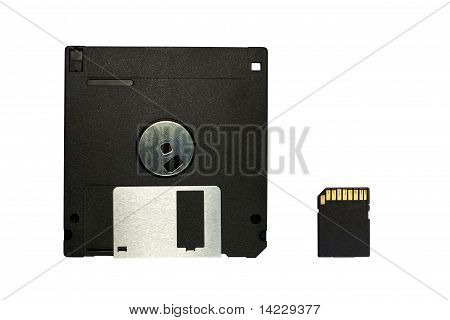 floppy disk and SD card isolated on white