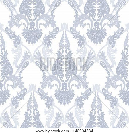 Vintage Rococo ornament pattern. Vector damask decor. Royal Victorian texture for textile fabric. Blue serenity color