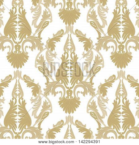 Vintage Rococo ornament pattern. Vector damask decor. Royal Victorian texture for textile fabric. Golden color
