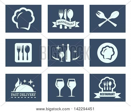 set of isolated blue restaurant food icons