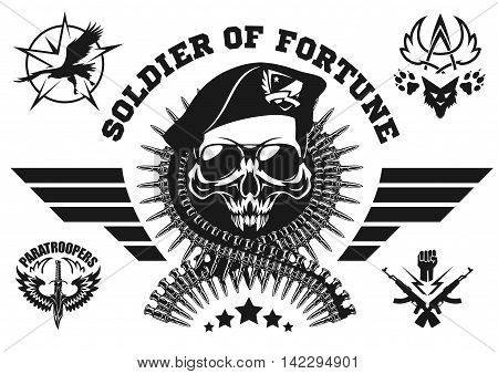 Special forces vector emblem with skull, ammunition and wings. Vector set.