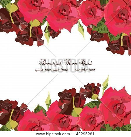 Watercolor Red Roses card. Vector Vintage floral border for greeting cards invitations weddings birthday Valentine's Day Mother's Day
