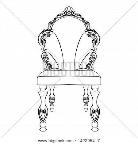 Baroque luxury style chair isolated Vector. Elegant sketch with luxurious rich ornaments. French Luxury rich carved decorations. Vintage Victorian exquisite Style furniture