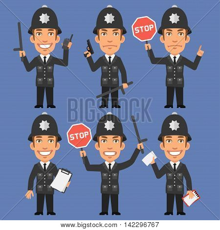 Vector Illustration, English Policeman Holds Weapons and Stop Sign, Format EPS 8