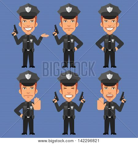 Vector Illustration, Policeman Holds Weapons, Format EPS 8