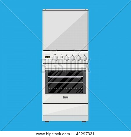 Gas or Electric Cooker in flat style on blue background. vector illustration