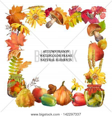 Watercolor autumn decorative square frame with natural elements on a white background