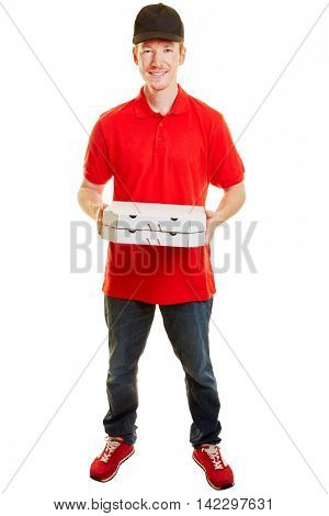 Pizza delivery guy with two pizzas smiling and standing on a white background