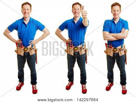 Craftsman in different positions like smiling and holding thumbs up