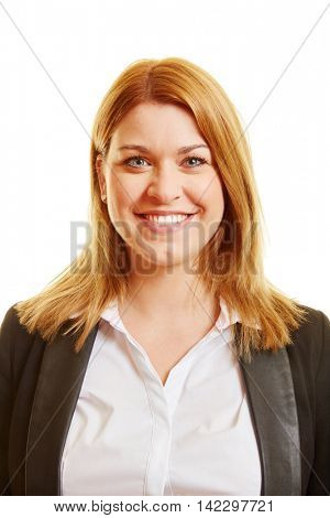 Head shot of a blond woman smiling with business clothes