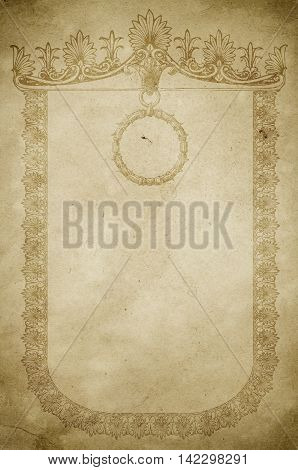 Aged dirty paper background with ornate vintage border. Antique frame for the design. Vintage paper texture.